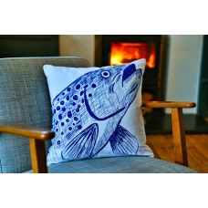 Beautifully Handcrafted in Cornwall Trevor the Trout Cushion