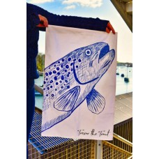 Beautifully Handcrafted in Cornwall Trevor the Trout Tea Towel